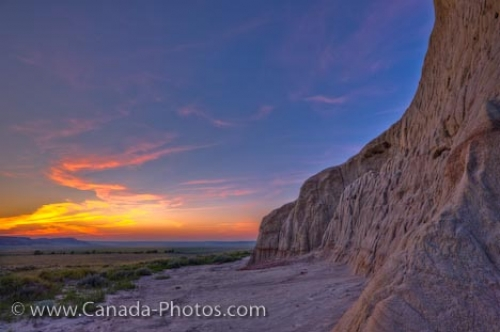 Photo: Castle Butte Sunset Patterns Big Muddy Badlands Saskatchewan
