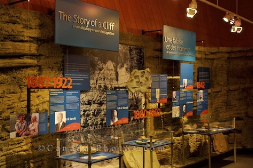 Photo: Cliff Exhibit Miguasha National Park Museum Gaspesie Peninsula Quebec