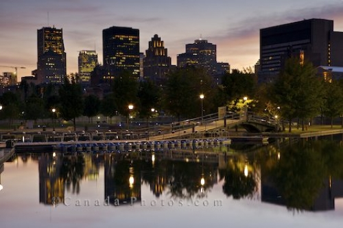 Photo: Downtown Montreal Sunset Reflections Quebec Canada