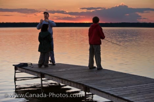 Photo: Father With Sons Wharf Fishing Lake Audy Manitoba