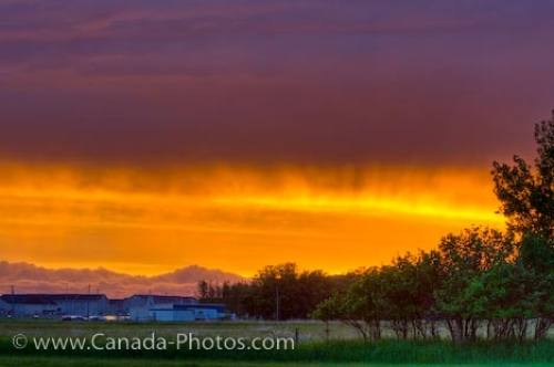 Photo: Fiery Sunset Colors City Of Winnipeg Manitoba