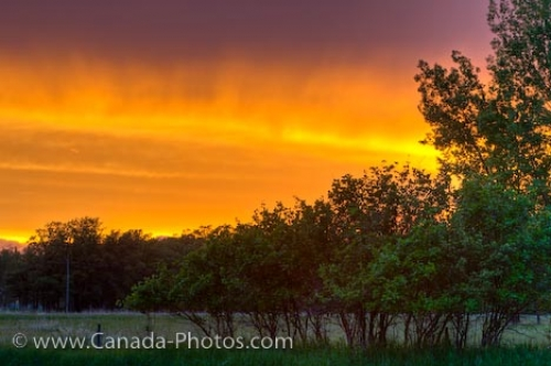 Photo: Fiery Sunset Sky City Of Winnipeg Manitoba Canada