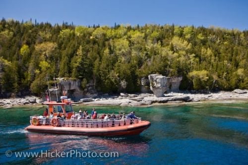 Photo: Flowerpot Island Zodiac Passengers Fathom Five National Marine Park