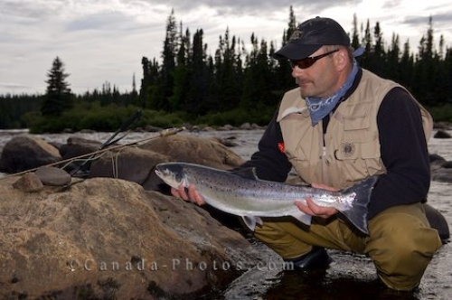 Photo: Fly Fishing Atlantic Salmon Rifflin Hitch Lodge