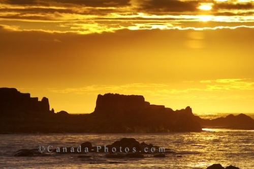 Photo: Glowing Yellow Sunset L Anse Aux Meadows Newfoundland