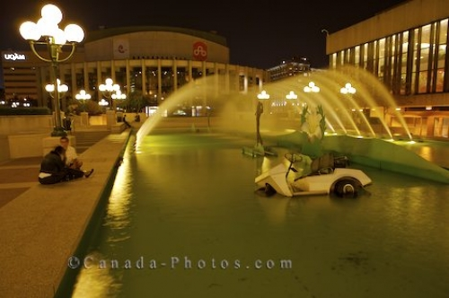 Photo: Golf Cart Fountain Place Des Arts Montreal Quebec