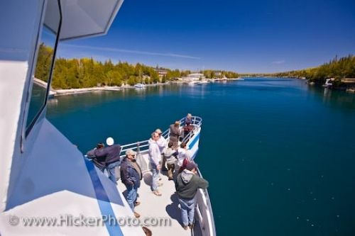 Photo: Great Blue Heron Boat Tour Passengers Lake Huron Ontario