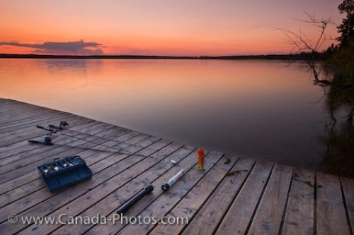 Photo: Lake Audy Sunset Fishing Riding Mountain National Park Manitoba