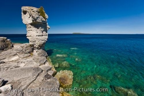 Photo: Lake Huron Sea Stack Flowerpot Island Fathom Five National Marine Park