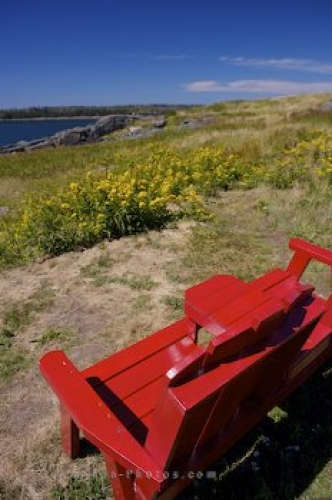 Photo: Red Bench At Cape Forchu