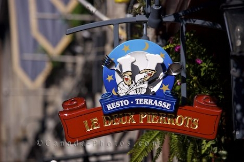 Photo: Restaurant Sign Historic Street Old Montreal
