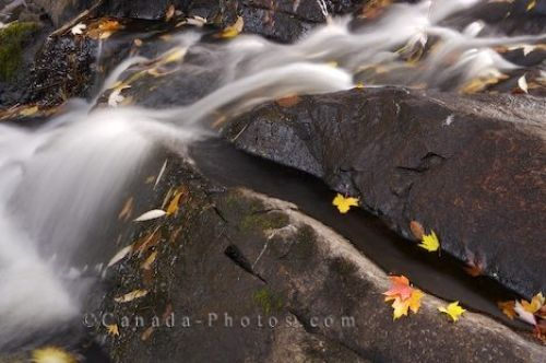 Photo: Restoule River Small Autumn Waterfall Ontario Canada