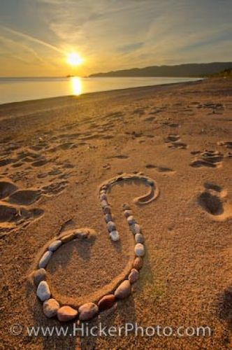 Photo: Rock Designs Agawa Bay Beach Sunset Lake Superior Ontario