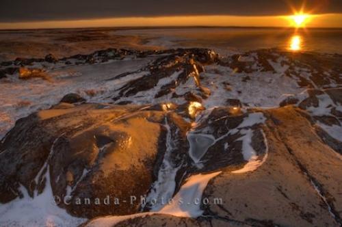 Photo: Rocky Coastline Sunset Hudson Bay Churchill Manitoba