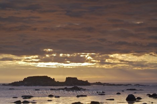 Photo: Rocky Island Sunset Storm Clouds L Anse Aux Meadows Newfoundland
