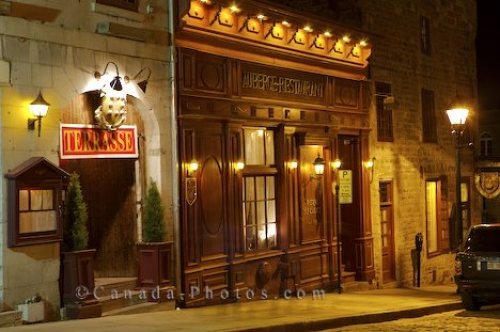 Photo: Rue Bonsecours Restaurant With Night Lights Old Montreal Quebec