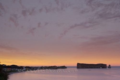 Photo: Soft Sunset Colors Perce Rock Gaspesie Peninsula Quebec