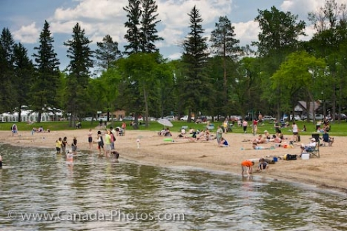 Photo: Summer Beach Tourists Wasagaming Manitoba Canada