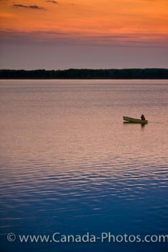 Photo: Sunset Canoeist Lake Audy Riding Mountain National Park Manitoba