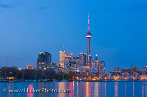 Photo: Toronto City Dusk Skyline Reflections Ontario Canada