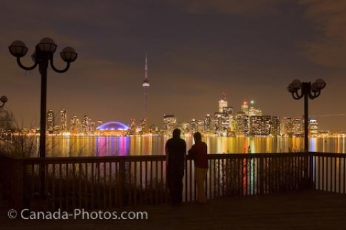 Photo: Toronto City Romantic Night Skyline Centre Island Ontario