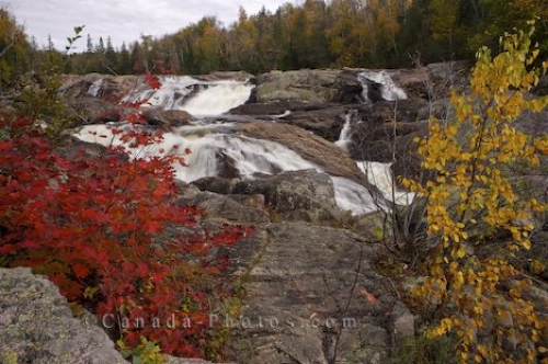 Photo: Waterfall Autumn Trees Sand River Ontario
