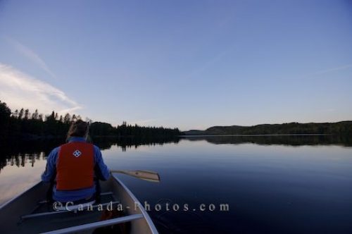 Photo: Whitefish Lake Sunset Canoeing Scenery Algonquin Provincial Park