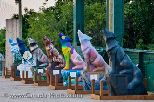 Photo: Winnipeg Wolves Statues Historic Rail Bridge The Forks