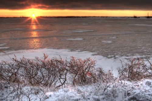 Photo: Winter Lake Sunset Hudson Bay Manitoba