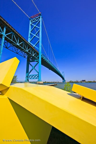 Photo: Odette Park Ambassador Bridge Detroit River