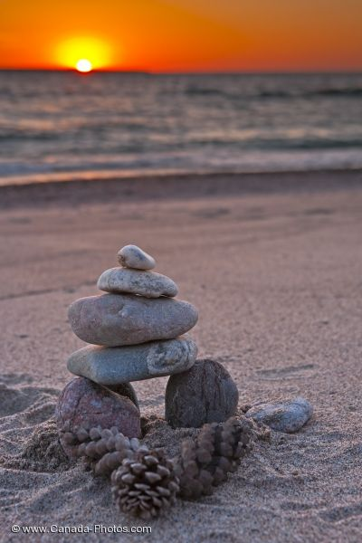 Photo: Agawa Bay Beach Inukshuk Ontario Sunset