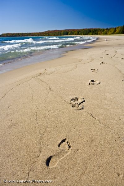 Photo: Beach Footprints Pancake Bay Lake Superior Ontario