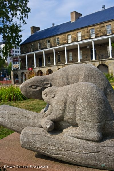 Photo: Beaver Family Statues Fredericton New Brunswick