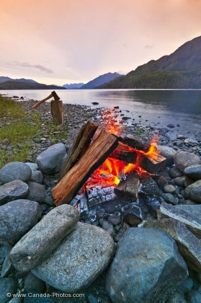 Photo: Nimpkish Lake Scenic Campfire Sunset