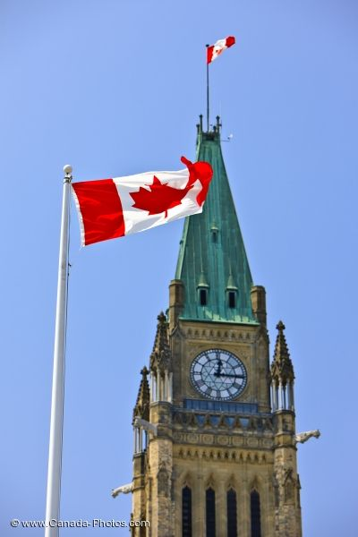 Photo: Canadian Flag In Front Of Peace Tower