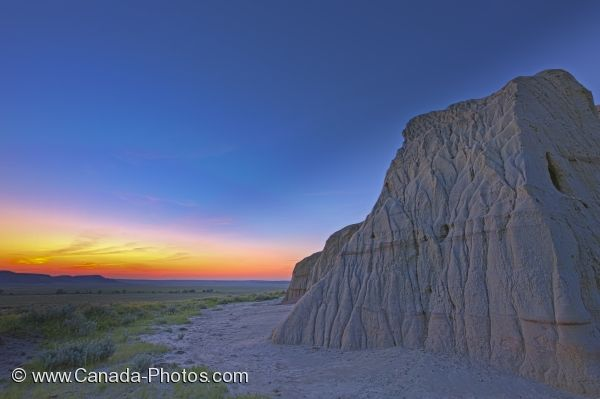 Photo: Castle Butte Rock Formation At Dusk Saskatchewan Canada