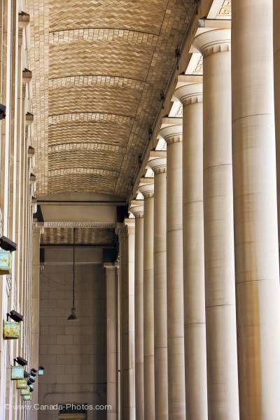 Photo: Columns at entrance to Union Station in downtown Toronto Ontario Canada