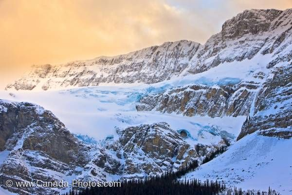 Photo: Hanging Crowfoot Glacier Sunset Clouds Winter