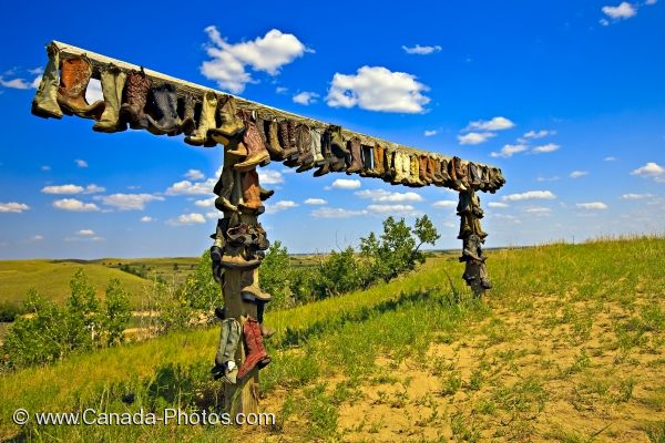 Photo: Decorative Cowboy Boots Great Sand Hills Saskatchewan