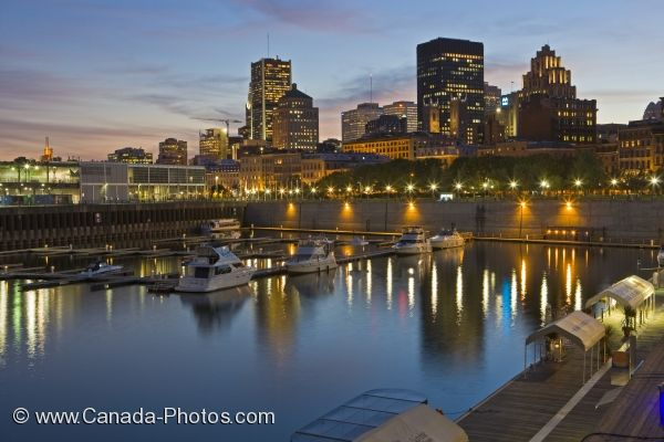 Photo: Downtown Montreal Dusk Lighting Jacques Cartier Basin Quebec