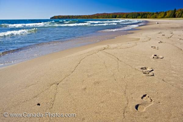 Photo: Footprints Sandy Beach Pancake Bay Ontario