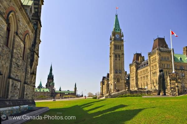 Photo: Centre Block Peace Tower of Parliament Buildings flanked by East West Blocks Parliament Hill