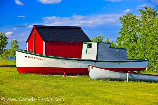 Photo: Hecla Village Red Shed With Boats Lake Winnipeg Manitoba