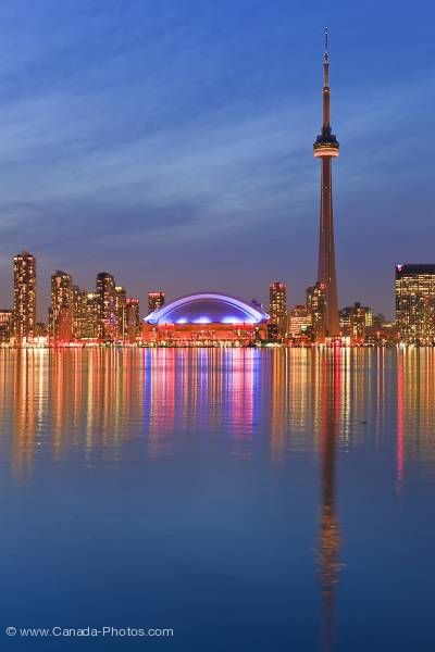Photo: Illuminated Toronto City Skyline Twilight Reflections Ontario