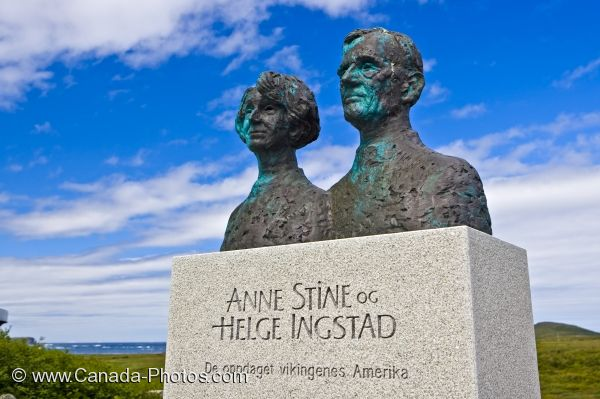 Photo: Ingstad Statue L Anse Aux Meadows Newfoundland