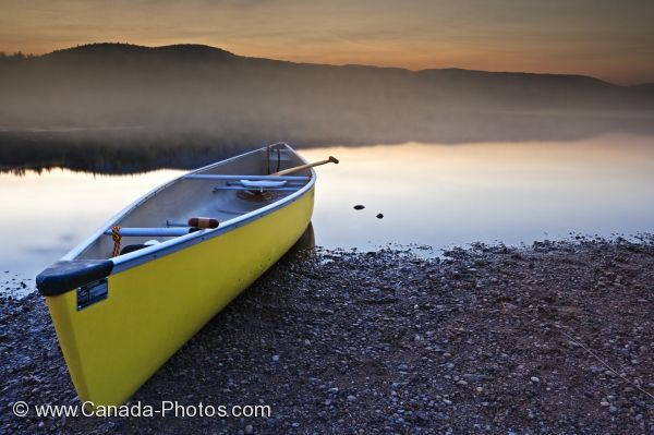 Photo: Lac Monroe Canoe At Sunset Parc National Du Mont Tremblant Quebec