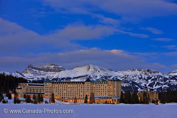 Photo: Fairmont Chateau Lake Louise Winter Dusk