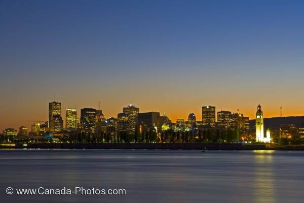 Photo: Montreal City Old Port Skyline Dusk