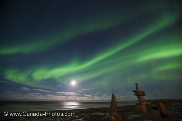 Photo: Northern Lights Moon Hudson Bay Manitoba