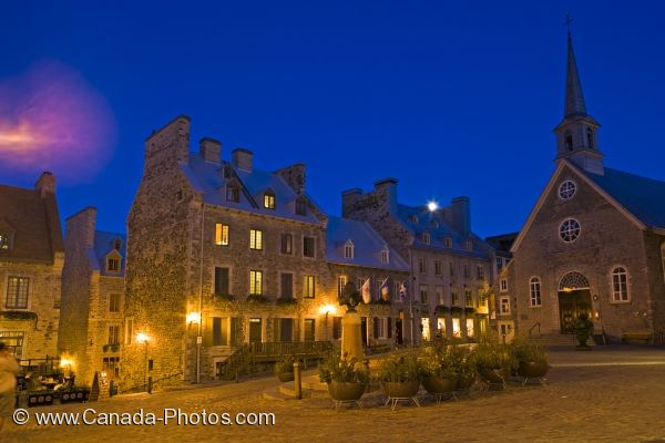Photo: Old Quebec Historic Church Night Lighting